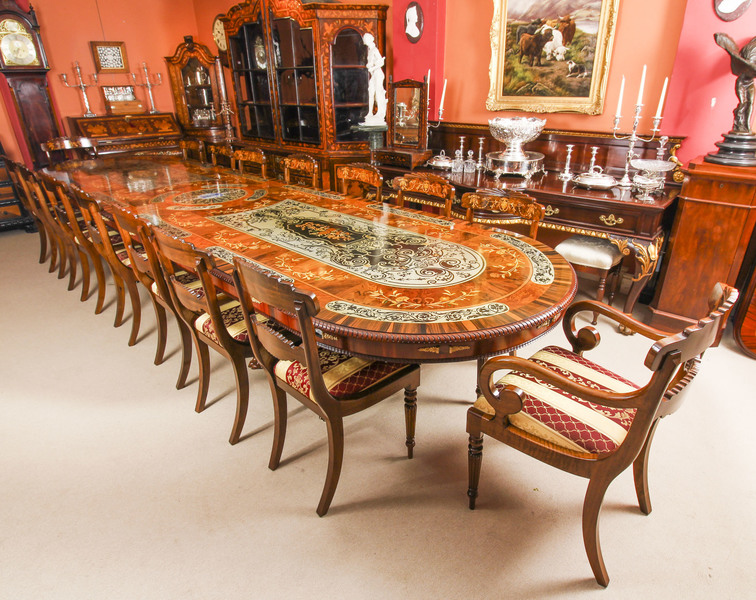 Bespoke 17ft Dining Table Pewter Lapis Lazuli Agate Inlaid 16 Chairs Vinterior