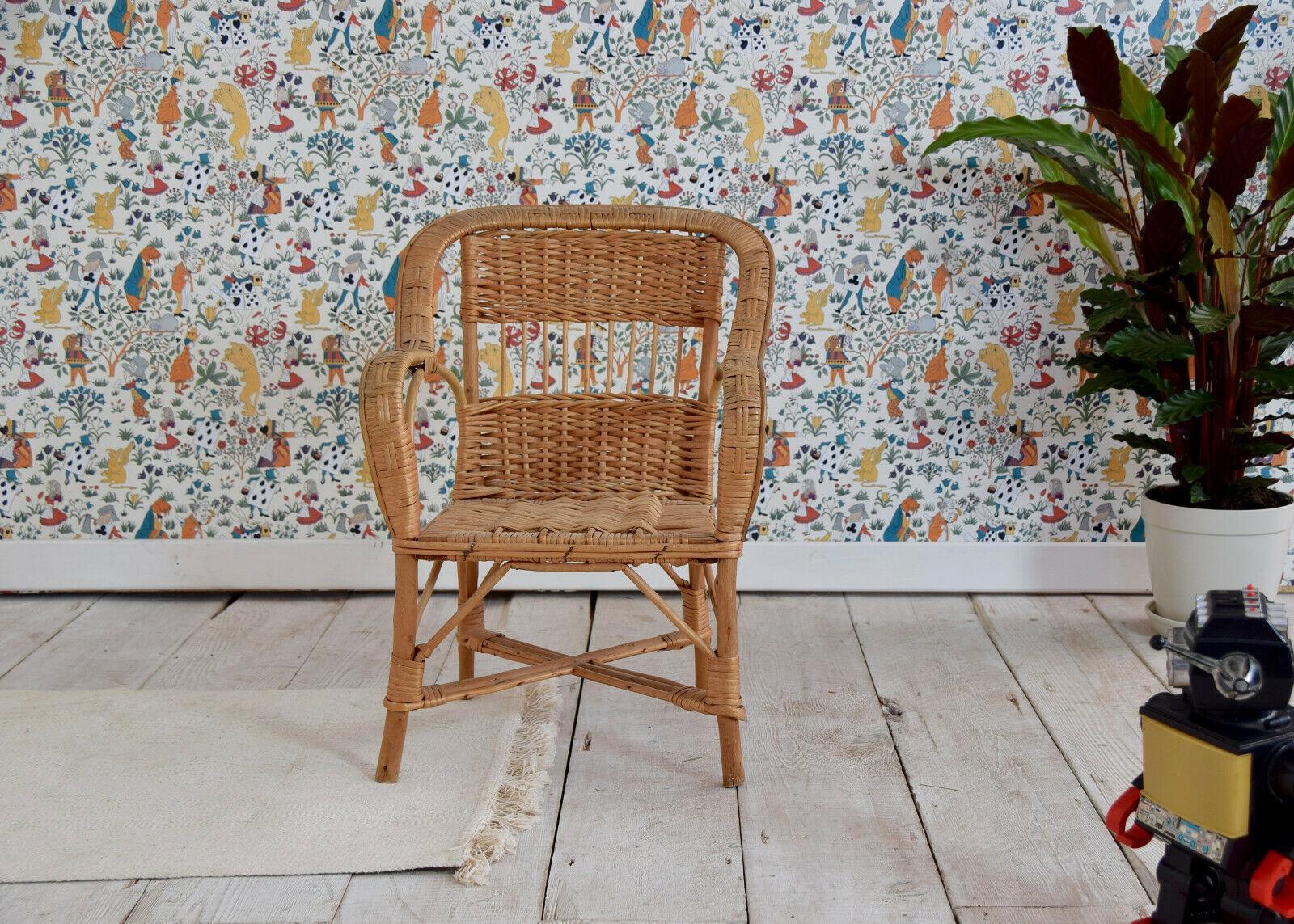 Vintage Child S Cane Wicker Bamboo Chair Children S Furniture Kid S Room