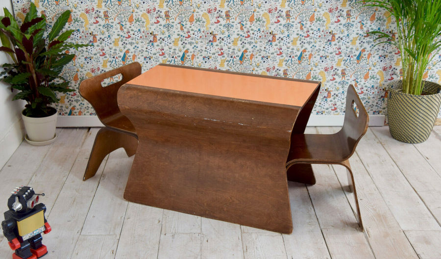 Sensational Vintage Childs Bentwood Table Chair Set Childrens Furniture Kids Room Home Interior And Landscaping Oversignezvosmurscom