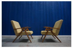 Thumb model b 310 var mid century modern armchairs in white gold fabric 1960 s set of 2 0