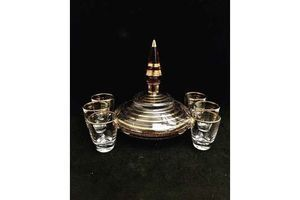Thumb liquor decanter set gold rimmed with 6 glasses vintage glass bottle liquor bottle mid century gold striped shot vodka shots bar accessories 0