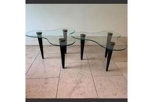 Thumb pair of biomorphic side tables in the manner of gilbert rohde 0
