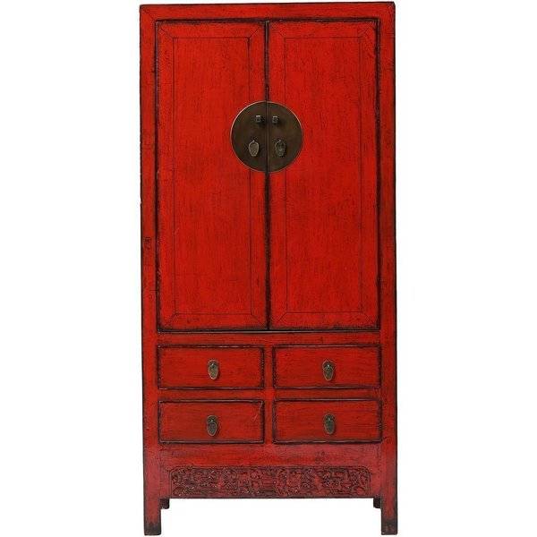 Vintage Chinese Red Wardrobe From Shan Xi photo 1