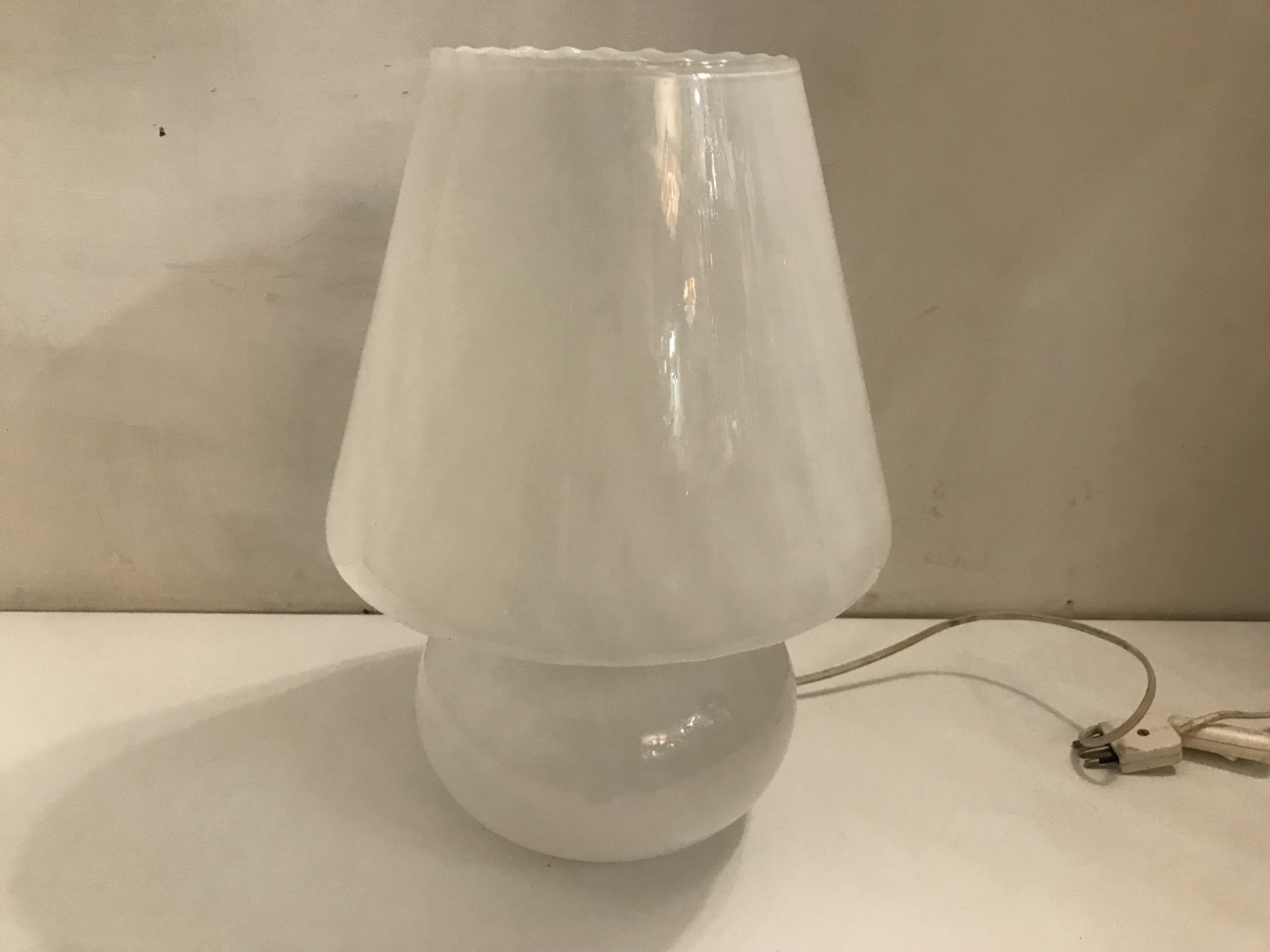 Italian Opaline Murano Glass Table Lamp