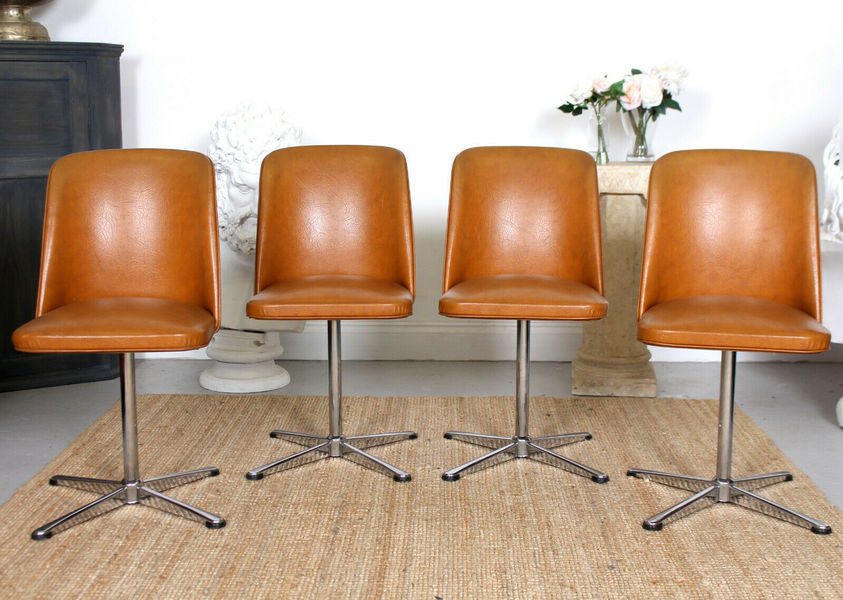 Groovy 4 Vintage Dining Chairs Mcm Swivel Chrome Tan Leather Chairs Home Interior And Landscaping Mentranervesignezvosmurscom