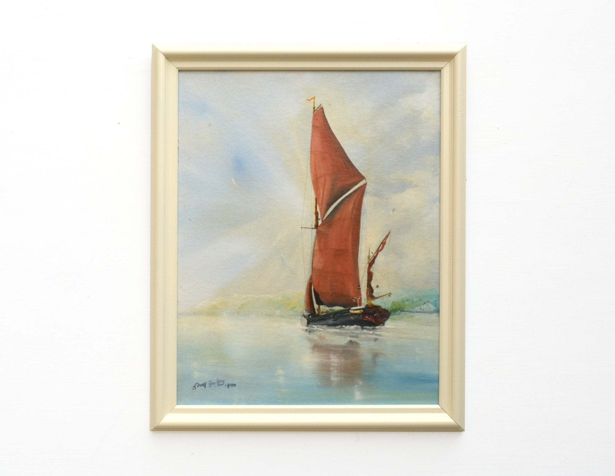 Sailing Boat Seascape Painting Ocean Wall Art Framed Nautical Art Beach House Decor