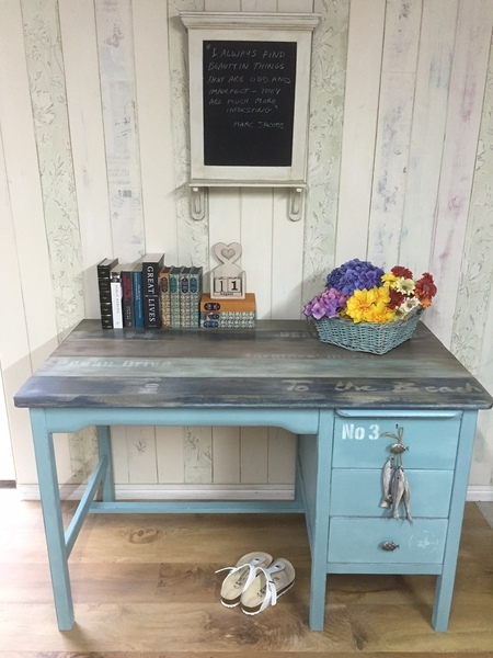 Vintage Desk Hand Painted With Coastal Theme