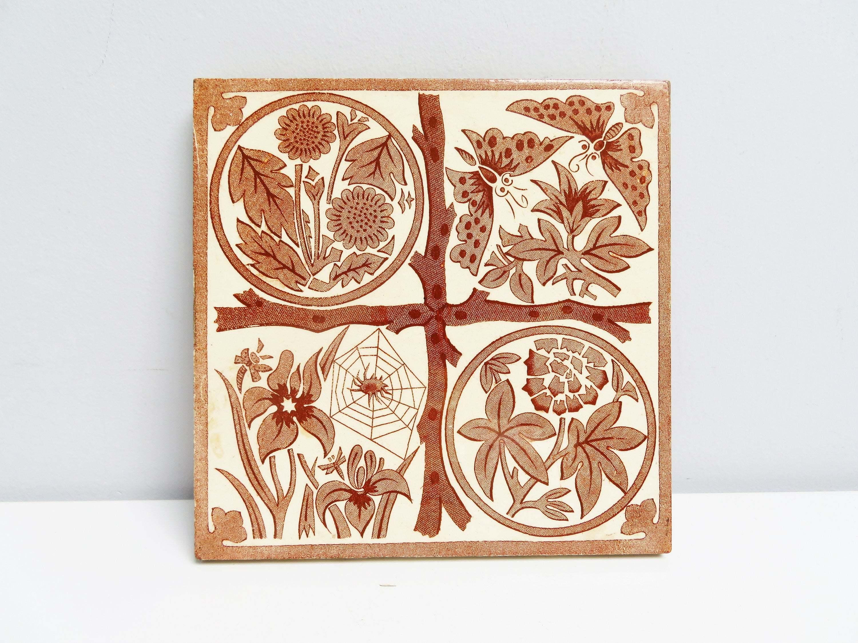 Vintage Ceramic Tile Ceramic Trivet, Kitchen Tile, Fireplace Handpainted,  Delft Brown Botanical Butterfly Iris