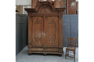 Thumb giant carved oak antique danish armoire shrank 0