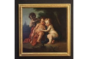 Thumb antique italian painting game of cherubs from 18th century 0