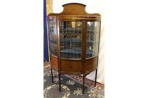 Thumb edwardian mahogany china half moon cabinet lead glass door and inlay 1910s 0