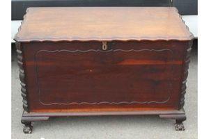 Thumb 1940 s cedar wood trunk on ball and claw feet 1920s 0