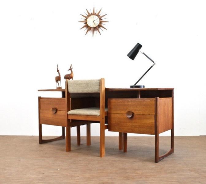 Vintage 1970's Teak Minimalist Desk And Teak Chair