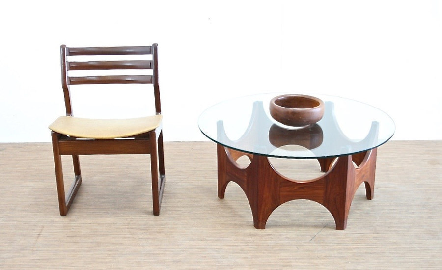 Vintage 1970's Teak And Glass Danish Influence Coffee Table