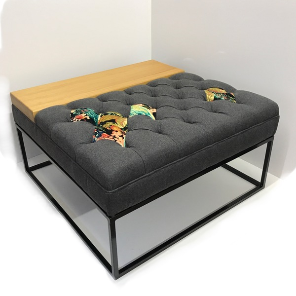 Upholstered Coffee Table/Footstool With Iroko Wood Section