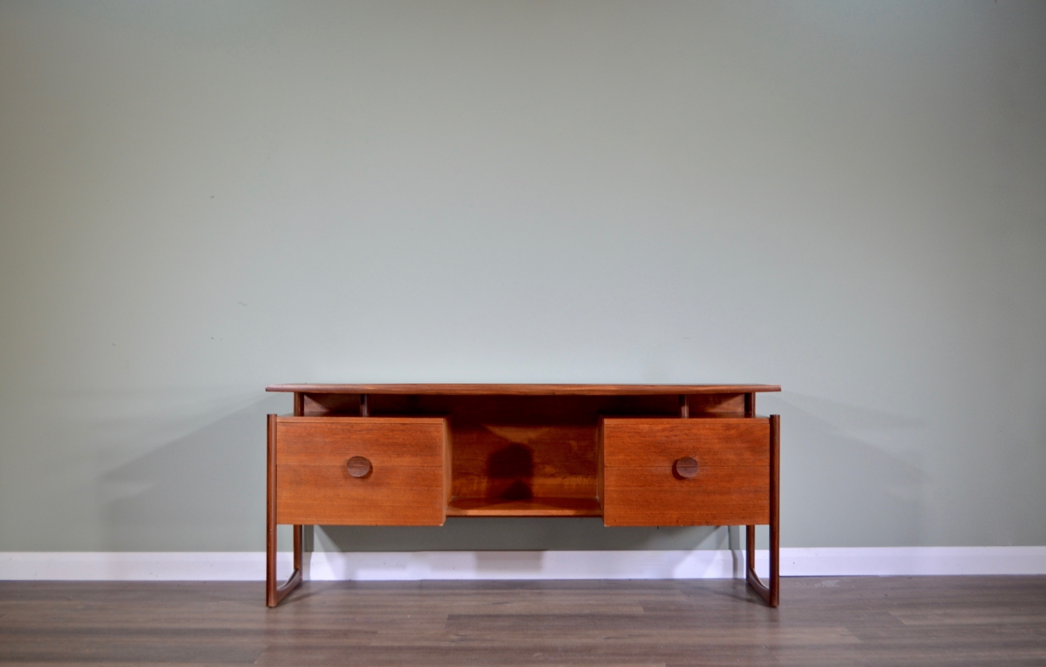 midcentury floating top teak desk delivery vintage modern danish style 0