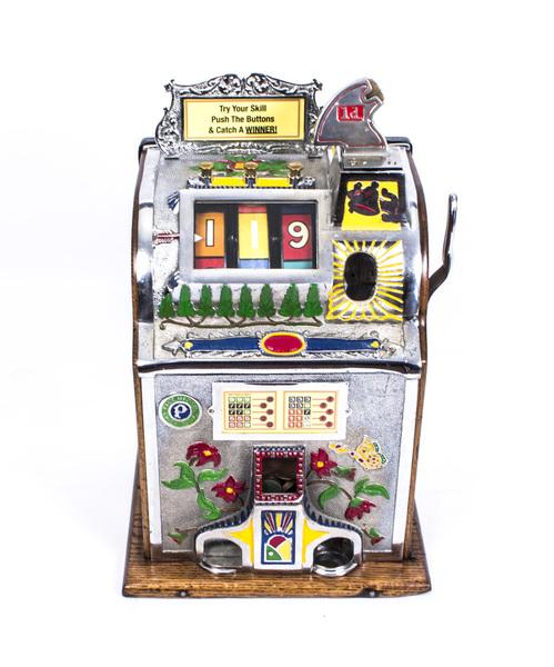 Antique 1920s Deco Poinsettia Slot Machine Mills Novelty Co
