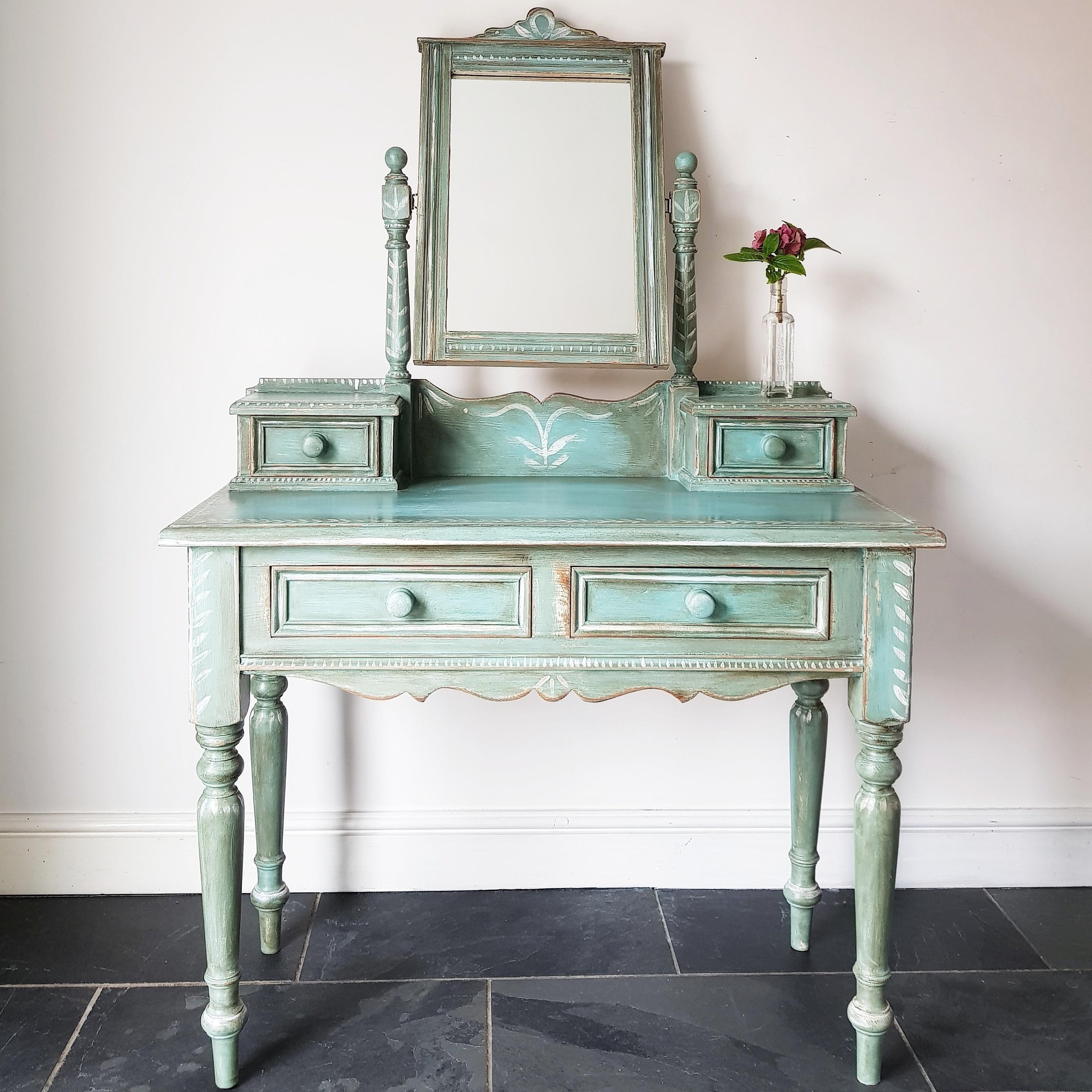 sale retailer 139c7 e0145 Farmhouse Pine Handpainted Upcycled Turquoise Boho Rustic Dressing Table &  Mirror