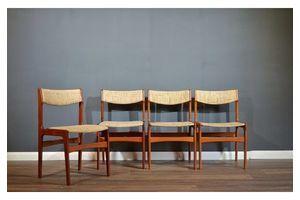 Thumb very rare set of 4 vintage danish erik buch teak chairs delivery modern mid century erik buch 1960s 0