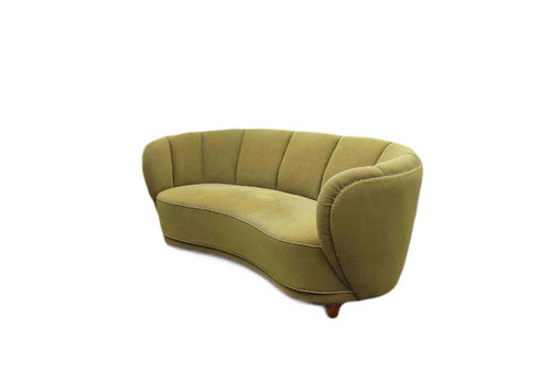 Curved Banana Sofa In The Style Of Flemming Lassen, Denmark, 1940s