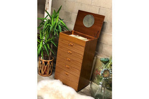 Thumb vintage schreiber teak effect five drawer chest of drawers with vanity section 0