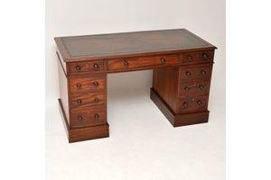 Thumb antique victorian mahogany leather top pedestal desk 1800s 0