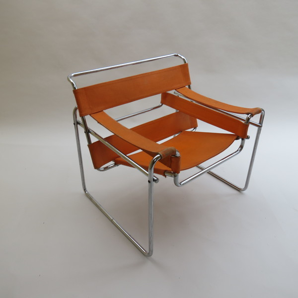 1960s B3 Wassily Chair In Orange Canvas By Marcel Breuer For Gavina, Italy Bauhaus
