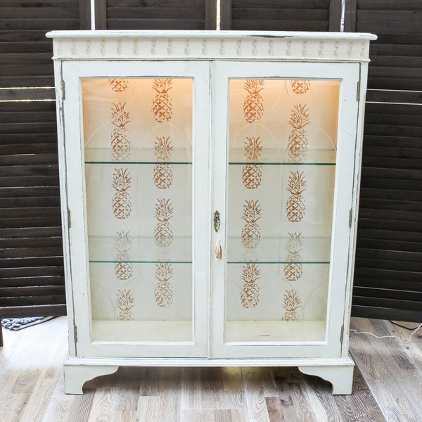 Shabby Chic Golden Pineapple Vintage Display Unit With Led Interior