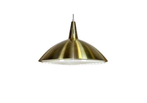 French Mid Century Pendant Light Fitting, Brass Coated