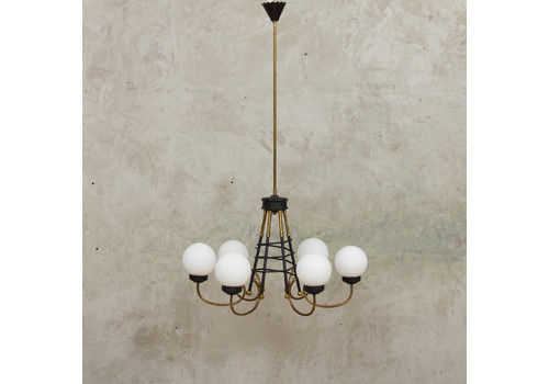 Original Stilnovo Six Lights Chandelier From The 60s