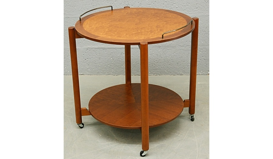 Mid Century 1960's Teak And Bird's Eye Maple Circular Drinks Trolley