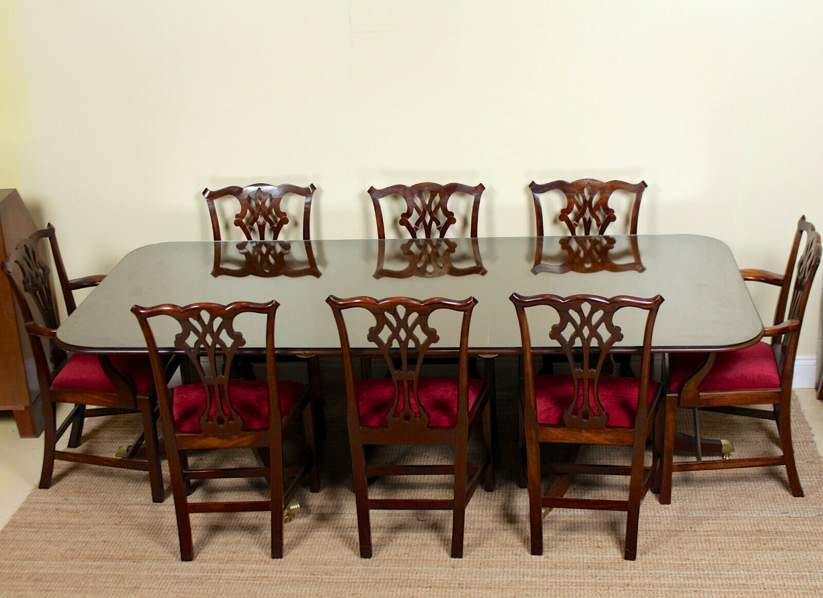 Antique Dining Table And 8 Chairs Chippendale Mahogany Glass Vinterior