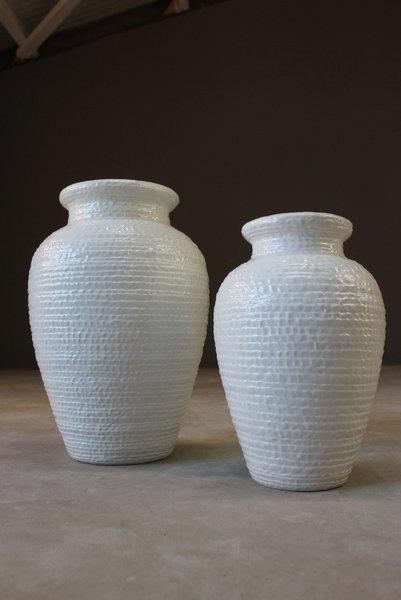 Pair Large Italian White Floor Vase