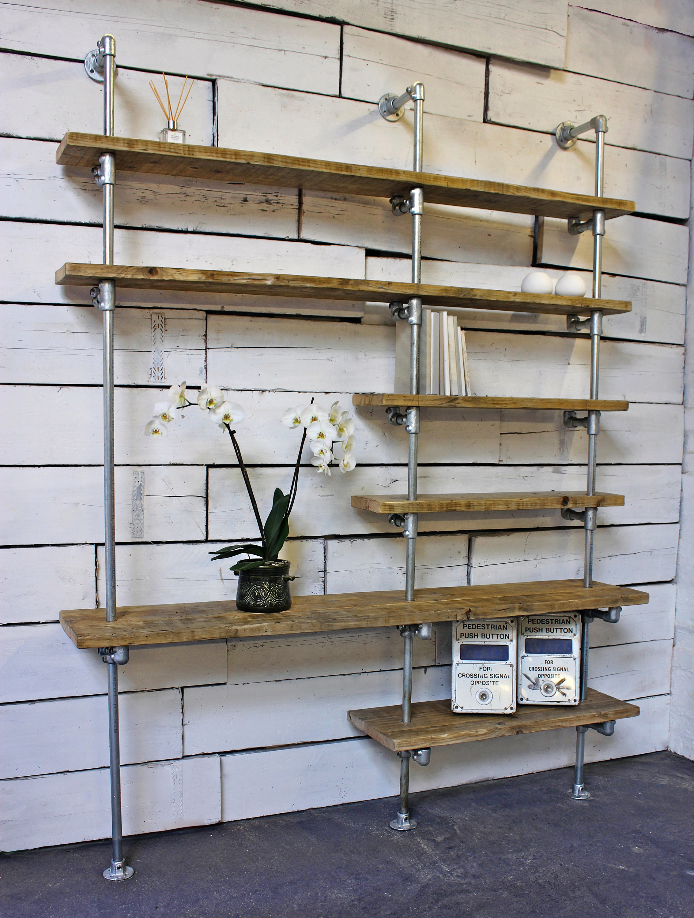 Yuka Reclaimed Scaffolding Boards And Galvanised Steel Pipe Wall Mounted And Floor Standing Industrial Bookcase Bespoke Urban Furniture Vinterior
