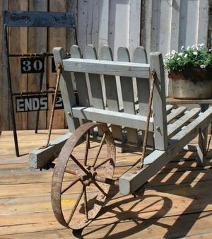 Beautiful Grey Wooden Wheelbarrow