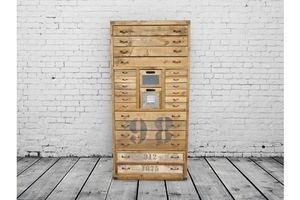 Thumb tall vintage wooden multi bank of drawers 0