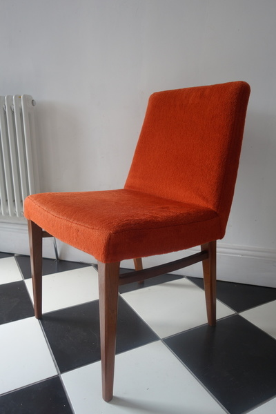 4 Retro Vintage Mid Century Orange E Gomme G Plan Fabric Teak Cocktail Dining Chairs