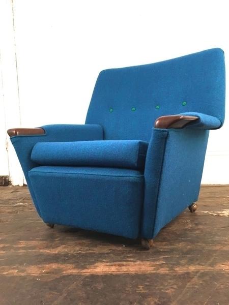 Mid Century Wheelie Blue Armchair