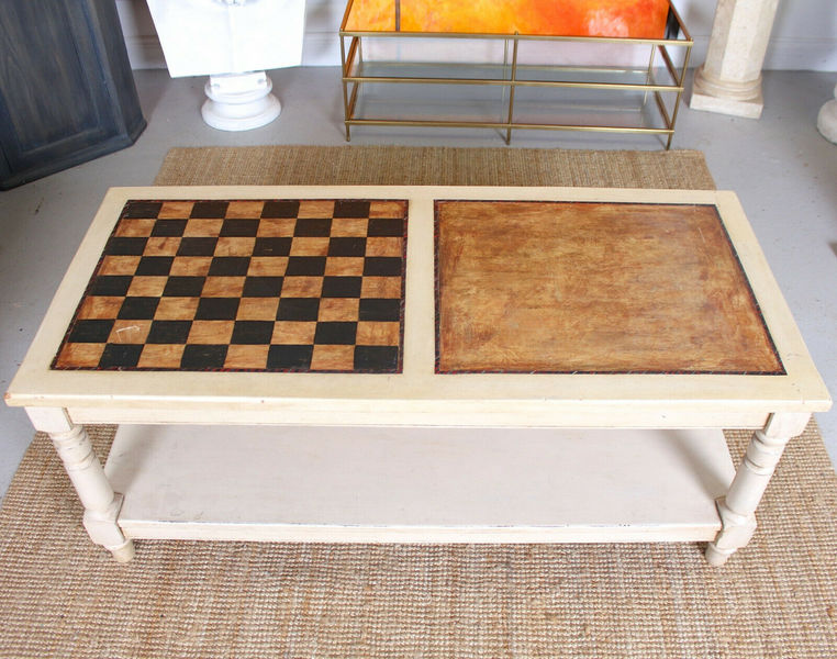Vintage Coffee Table Painted Chess Board Games Table Vinterior
