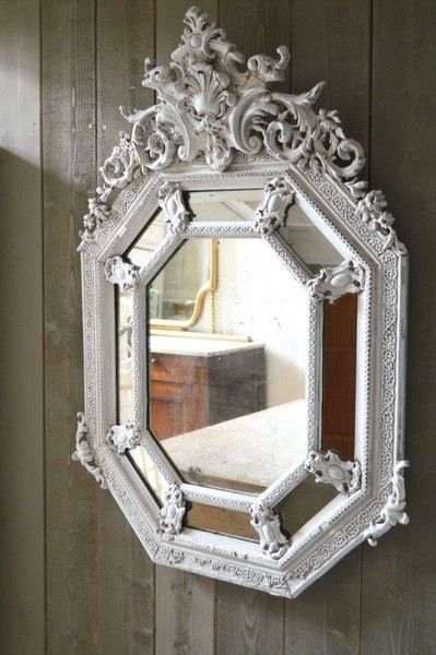 19th Century Octagonal Cushion Mirror