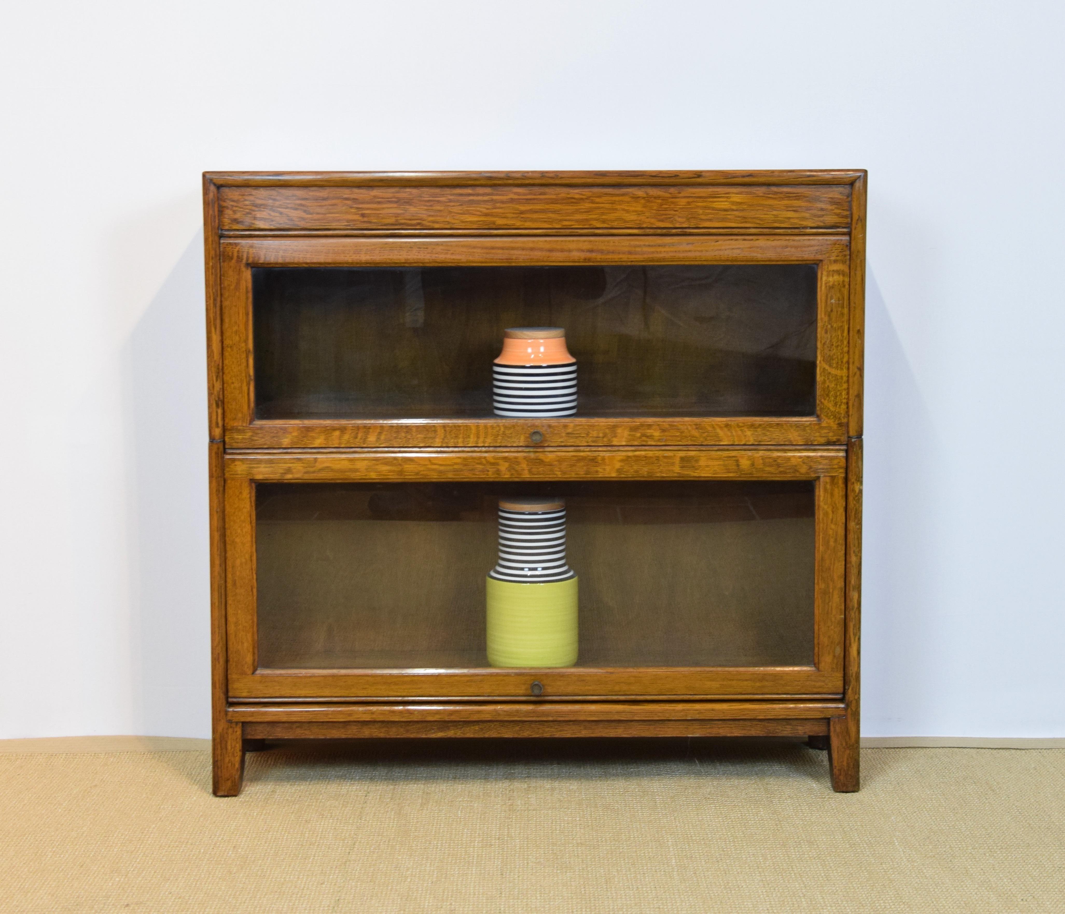 Vintage Barrister Bookcase Globe Wernicke Style Oak Section Bookshelves Display