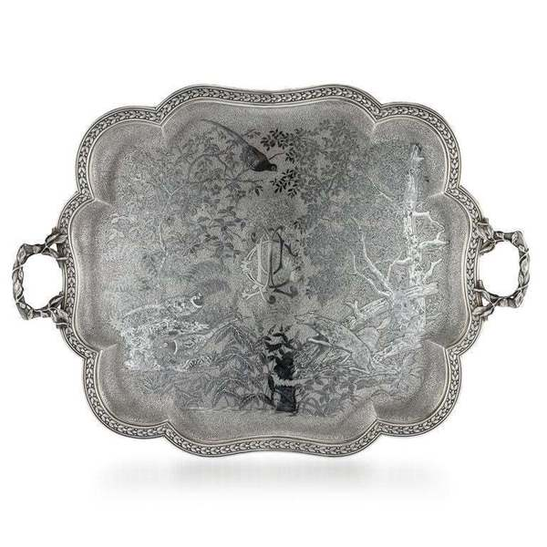 19th Centurt French Solid Silver & Niello Serving Tray Circa 1870