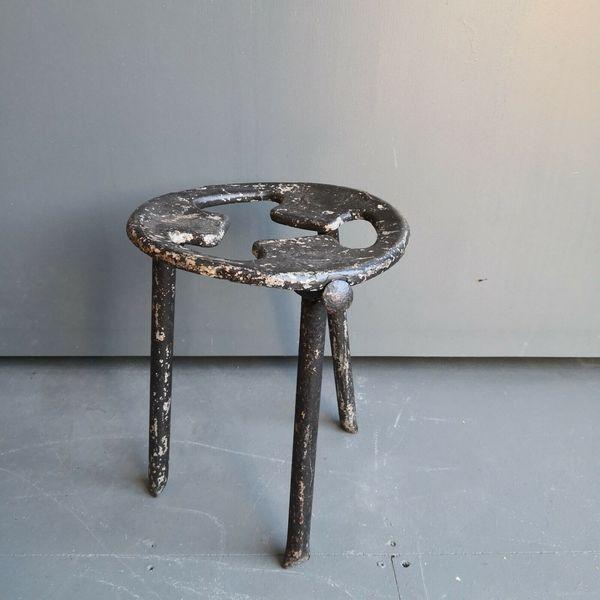 Vintage Industrial Metal Milking Stool Antique Mid Century Modernist Style