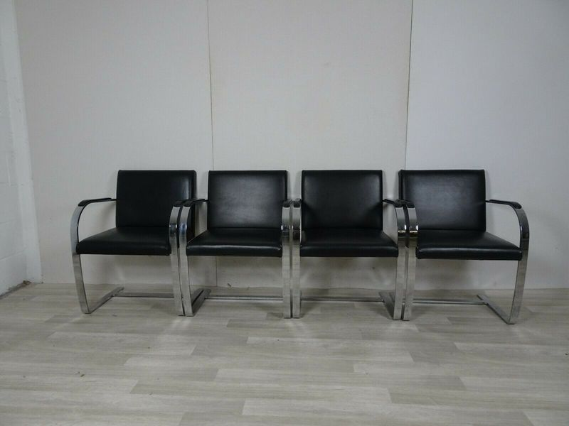Set Of 4 Knoll Brno Chairs In Black Leather