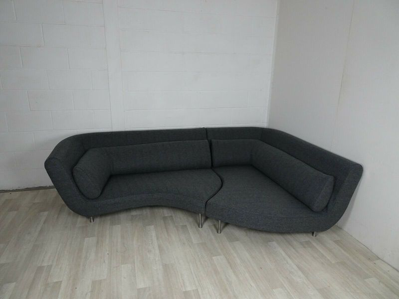 Immaculate Ligne Roset Yang 2 Sectional Sofa In Charcoal Grey Wool