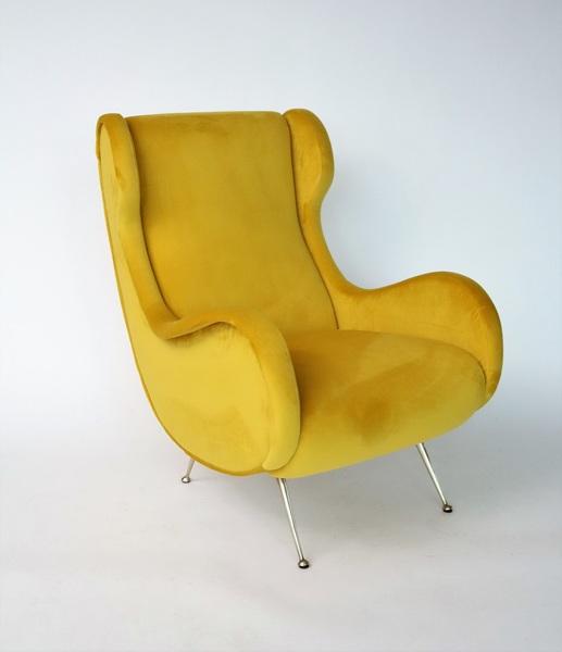 Italian Midcentury Armchair In Sunny Yellow Velvet And Brass Feet, 1950s