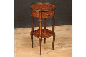 Thumb french side table inlaid in rosewood walnut maple mahogany and fruitwood 0