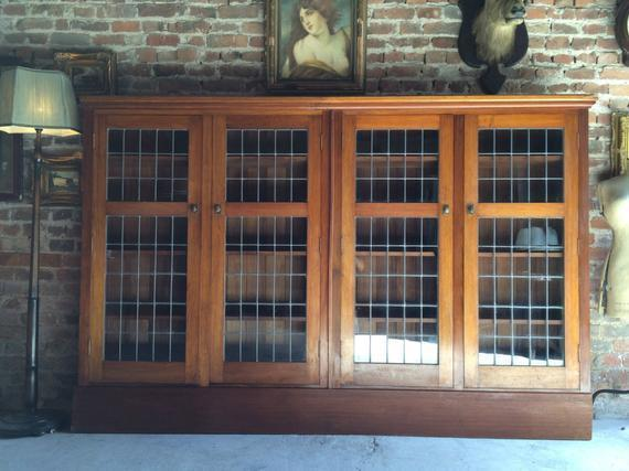 Stunning Antique Arts & Crafts Large Bookcase 20th Century Solid Oak Four Door