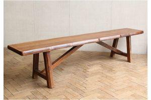 Thumb vintage mid century waney edge elm wooden bench 1 0