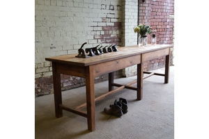 Thumb mid century industrial vintage pine work bench 275cm long 0